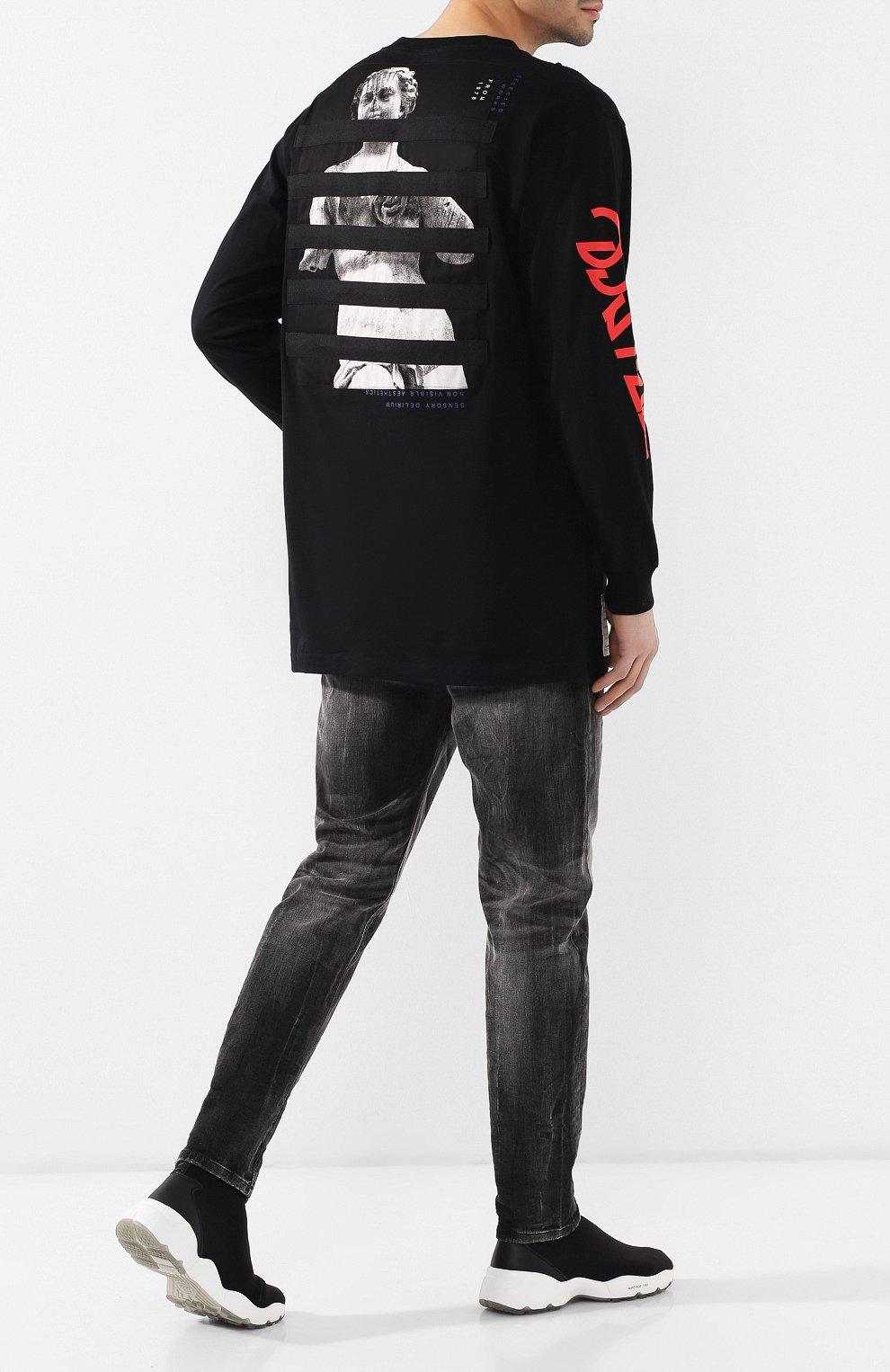 Мужская хлопковый лонгслив DIESEL черного цвета, арт. 00SNRW/0QAUL | Фото 2