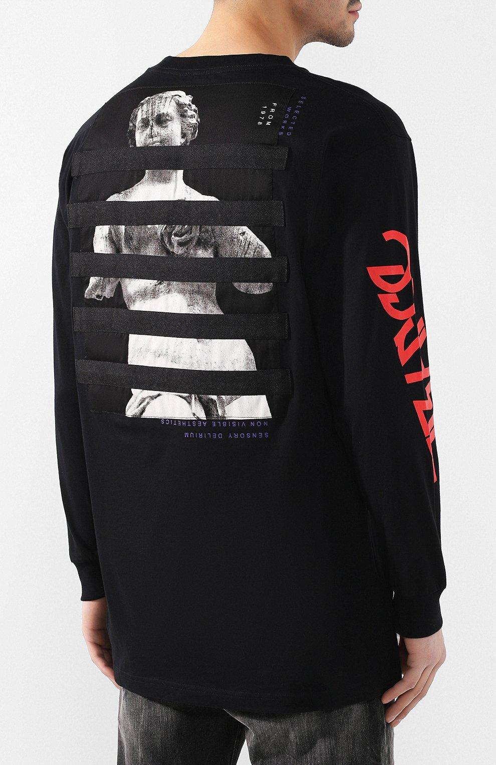 Мужская хлопковый лонгслив DIESEL черного цвета, арт. 00SNRW/0QAUL | Фото 4