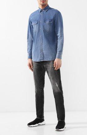 Хлопковая рубашка Diesel синяя | Фото №2