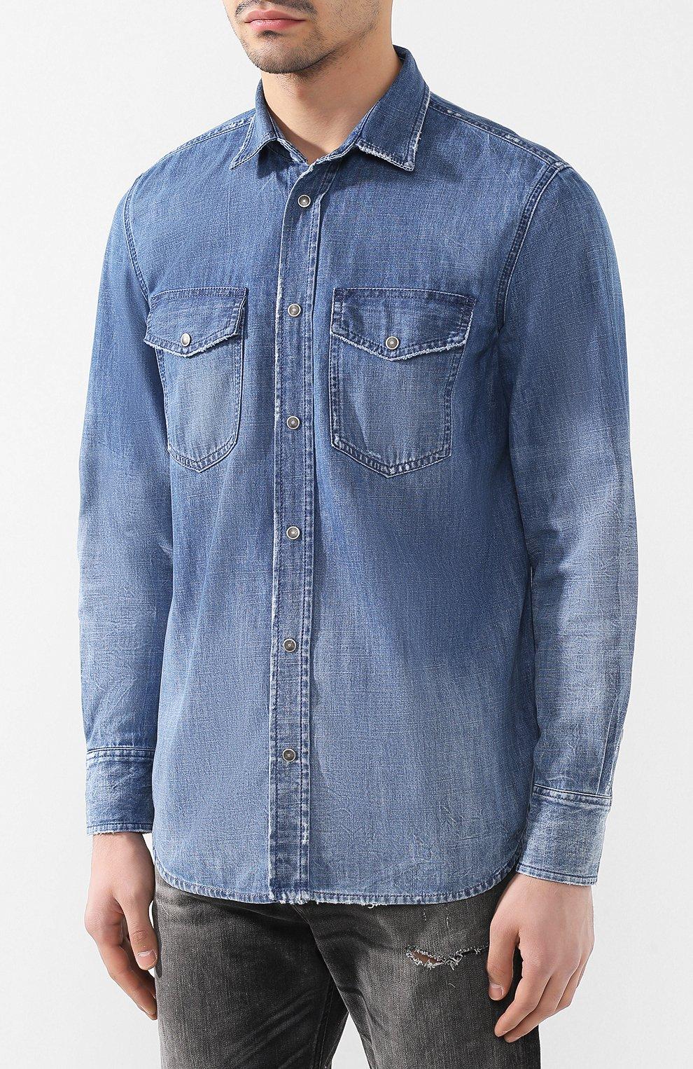Хлопковая рубашка Diesel синяя | Фото №3