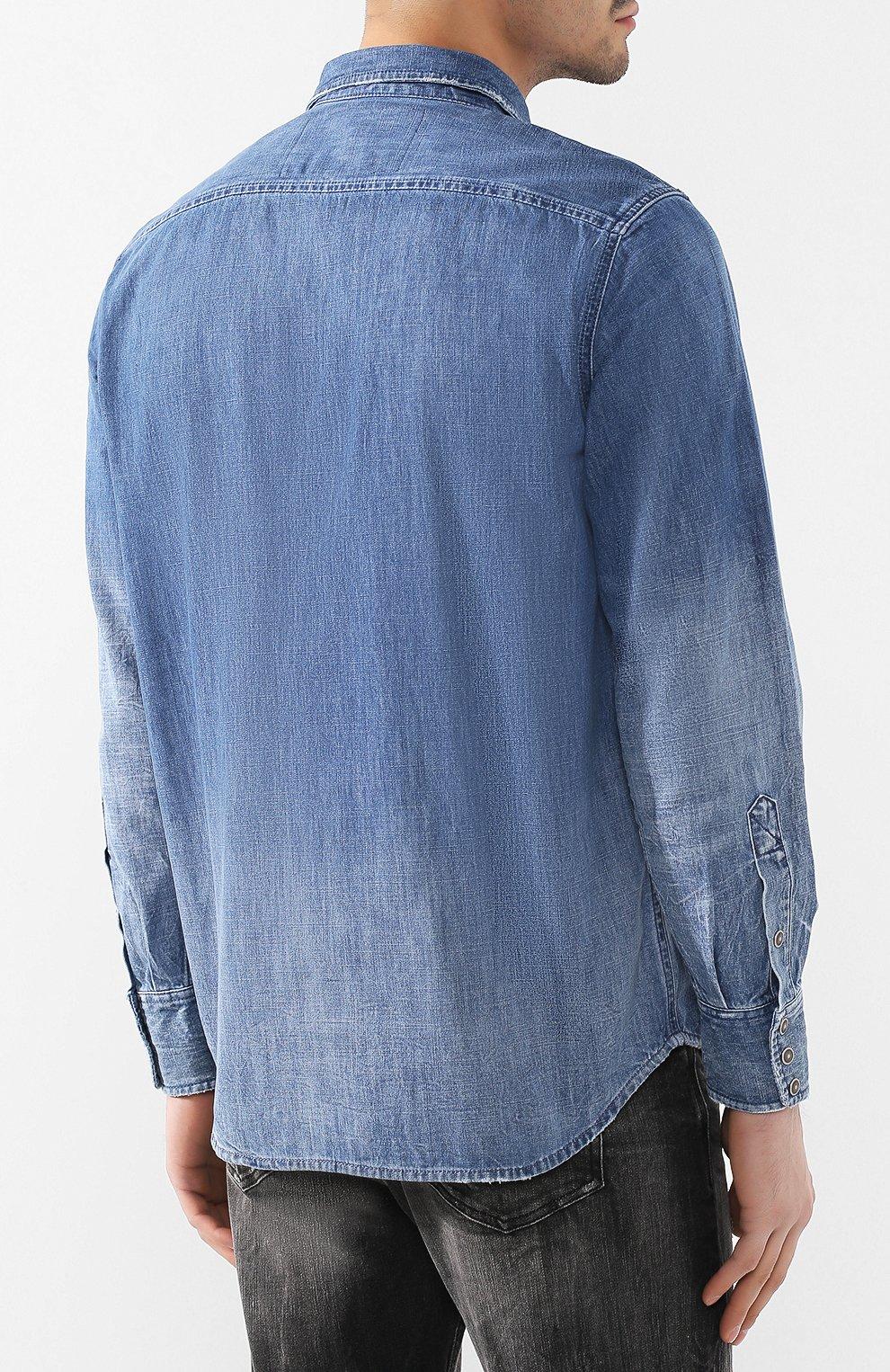 Хлопковая рубашка Diesel синяя | Фото №4