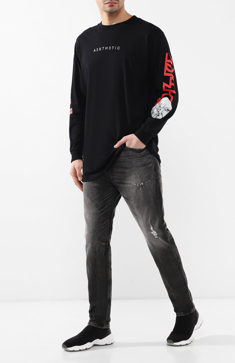 Мужские джинсы DIESEL темно-серого цвета, арт. 00STD/0077S   Фото 2