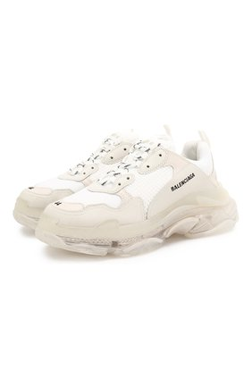 Мужские комбинированные кроссовки triple s BALENCIAGA белого цвета, арт. 541624/W09E1 | Фото 1