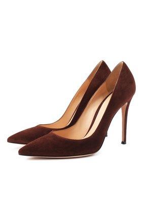 Женская замшевые туфли gianvito 105 GIANVITO ROSSI темно-коричневого цвета, арт. G28470.15RIC.CAMCH0C | Фото 1