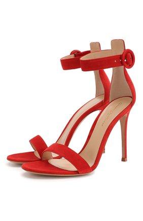 Женские замшевые босоножки portofino 105 GIANVITO ROSSI красного цвета, арт. G61096.15RIC.CAMTABS | Фото 1