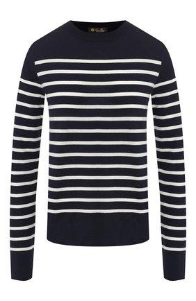 Женский кашемировый пуловер LORO PIANA синего цвета, арт. FAI4325   Фото 1