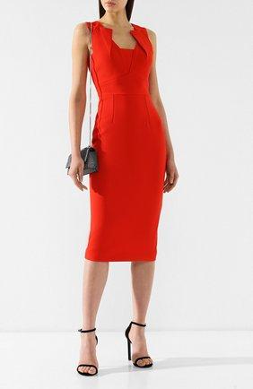 Женское приталенное платье-миди ROLAND MOURET красного цвета, арт. PS19/S0534/F2196 | Фото 2