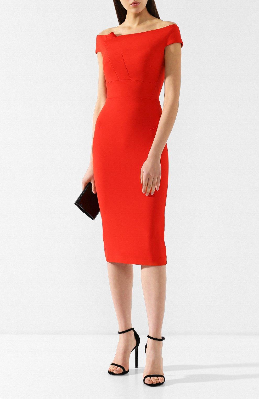Приталенное платье-миди Roland Mouret красное | Фото №2