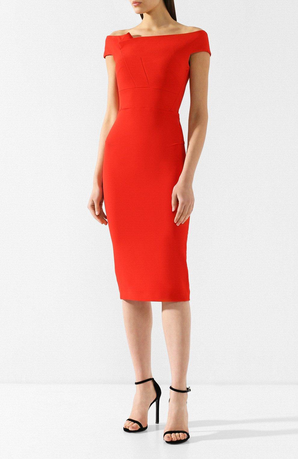 Приталенное платье-миди Roland Mouret красное | Фото №3