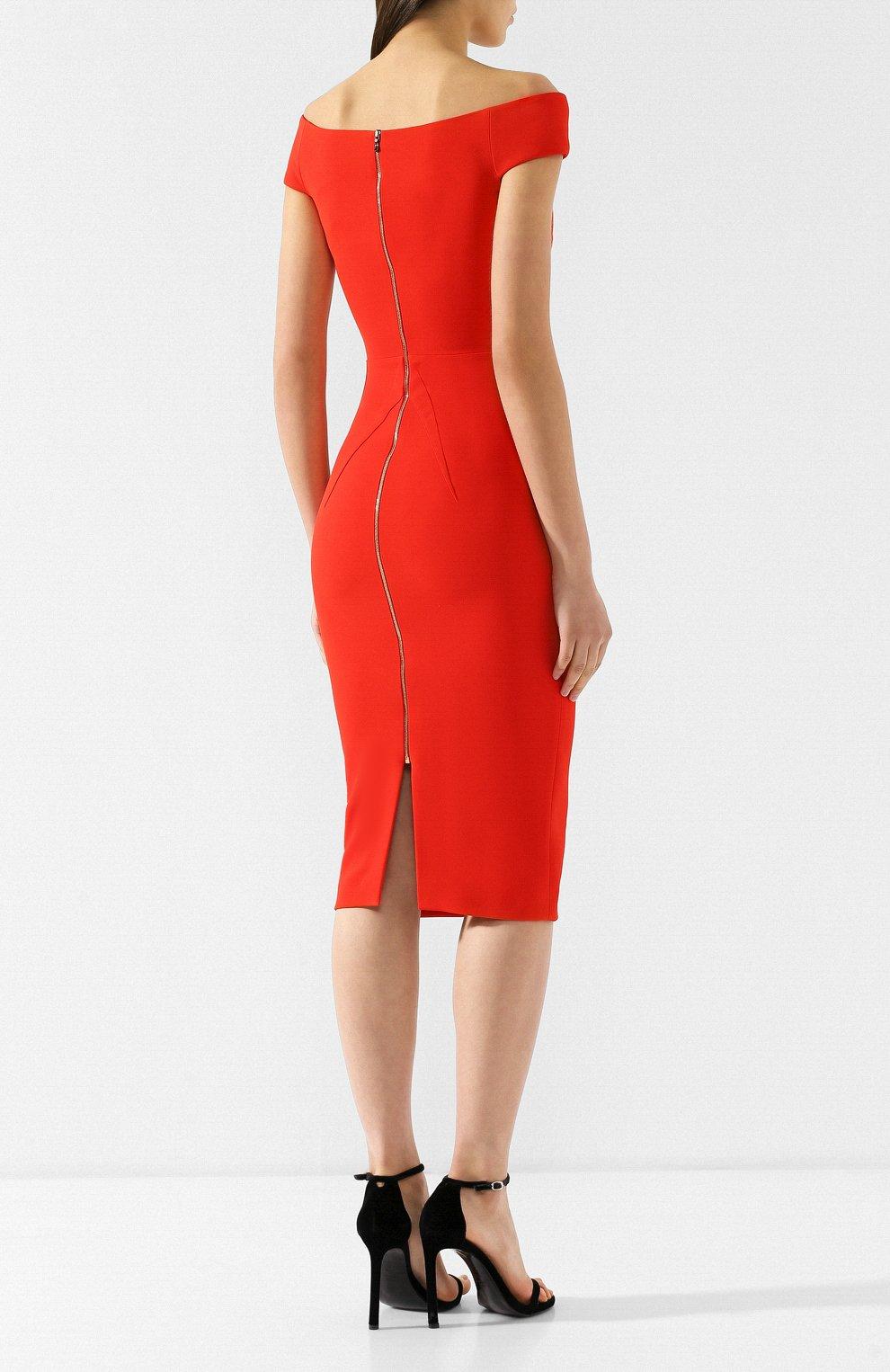 Приталенное платье-миди Roland Mouret красное | Фото №4