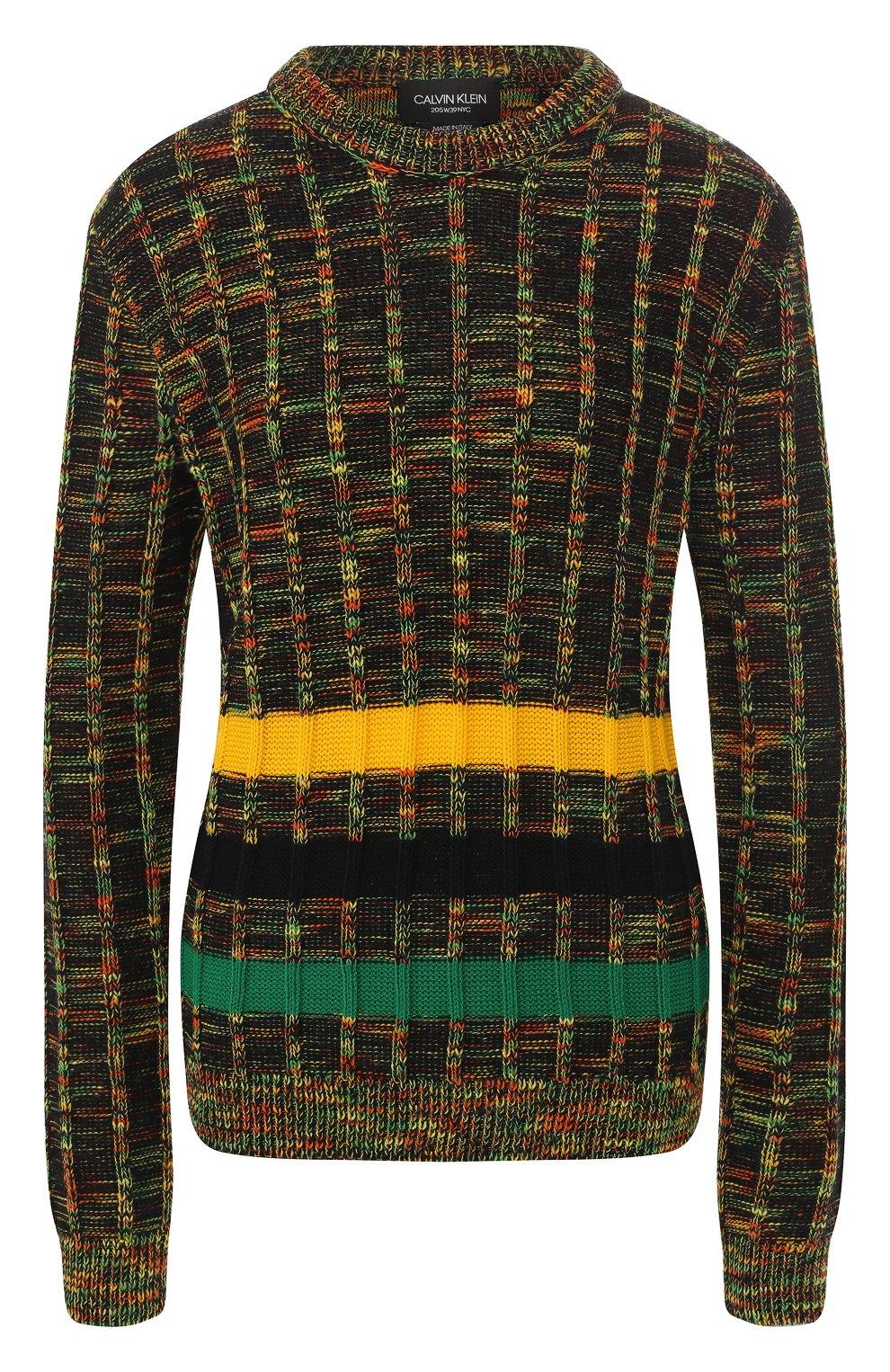 Шерстяной пуловер CALVIN KLEIN 205W39NYC разноцветный | Фото №1