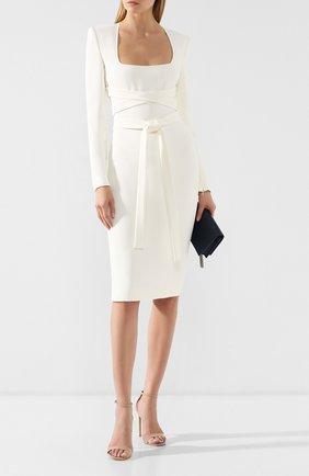 Женское платье из вискозы TOM FORD белого цвета, арт. AB2498-FAX459 | Фото 2 (Рукава: Длинные; Длина Ж (юбки, платья, шорты): До колена; Случай: Формальный; Материал внешний: Вискоза; Женское Кросс-КТ: платье-футляр; Статус проверки: Проверена категория)