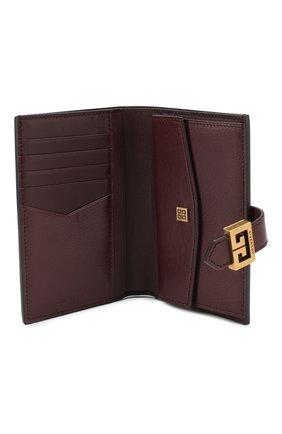 Кожаный кошелек GV3 Givenchy бордового цвета | Фото №3