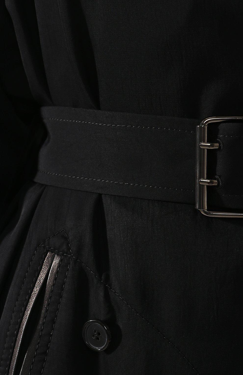 Двубортный тренч Tom Ford черного цвета | Фото №5
