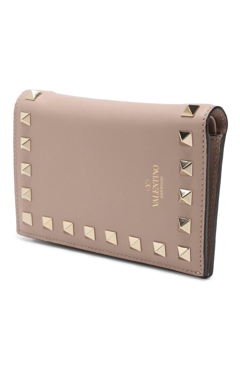 Кожаный кошелек Valentino Garavani Rockstud Valentino бежевого цвета | Фото №2