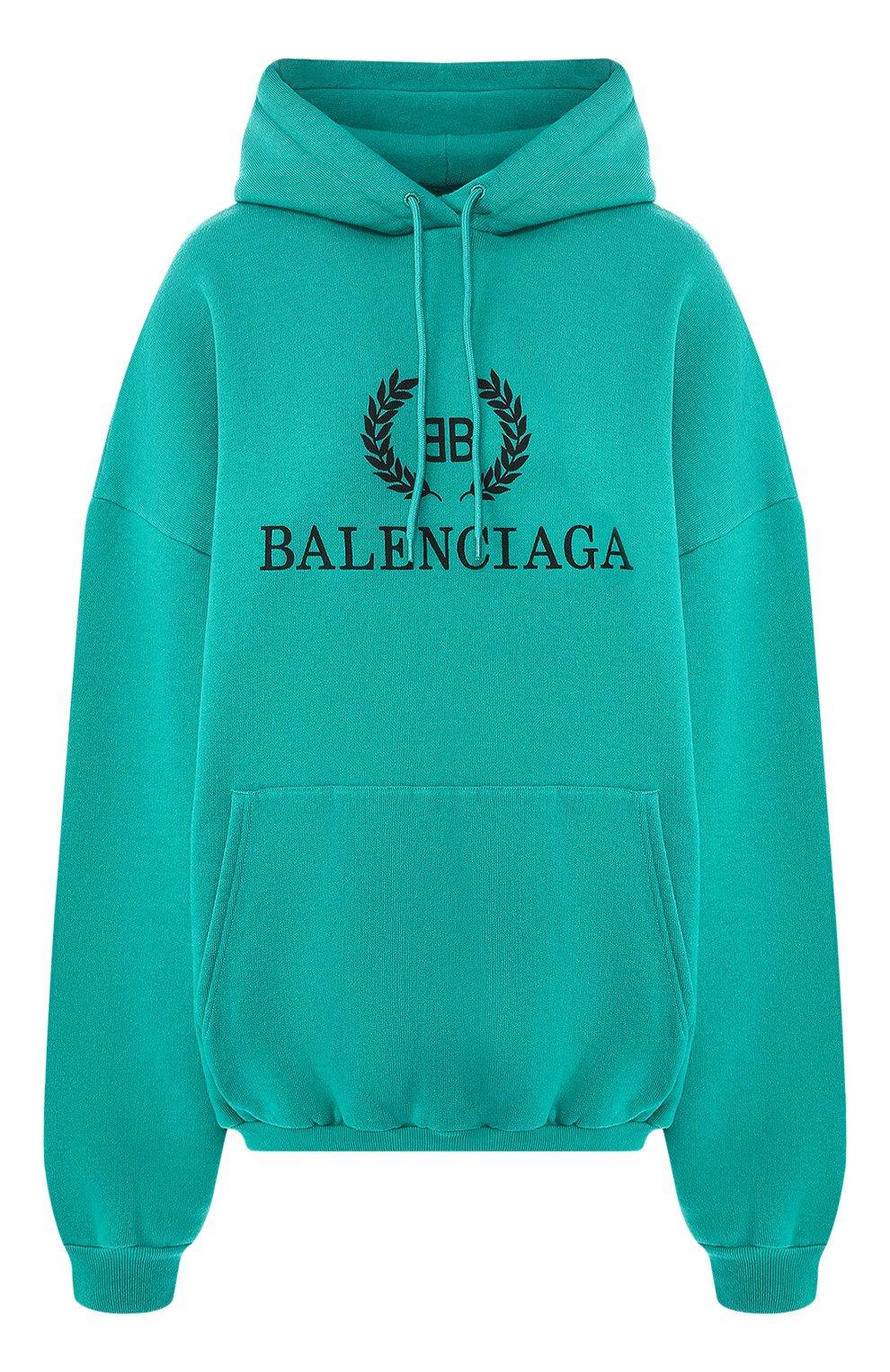 Хлопковое худи Balenciaga зеленый | Фото №1