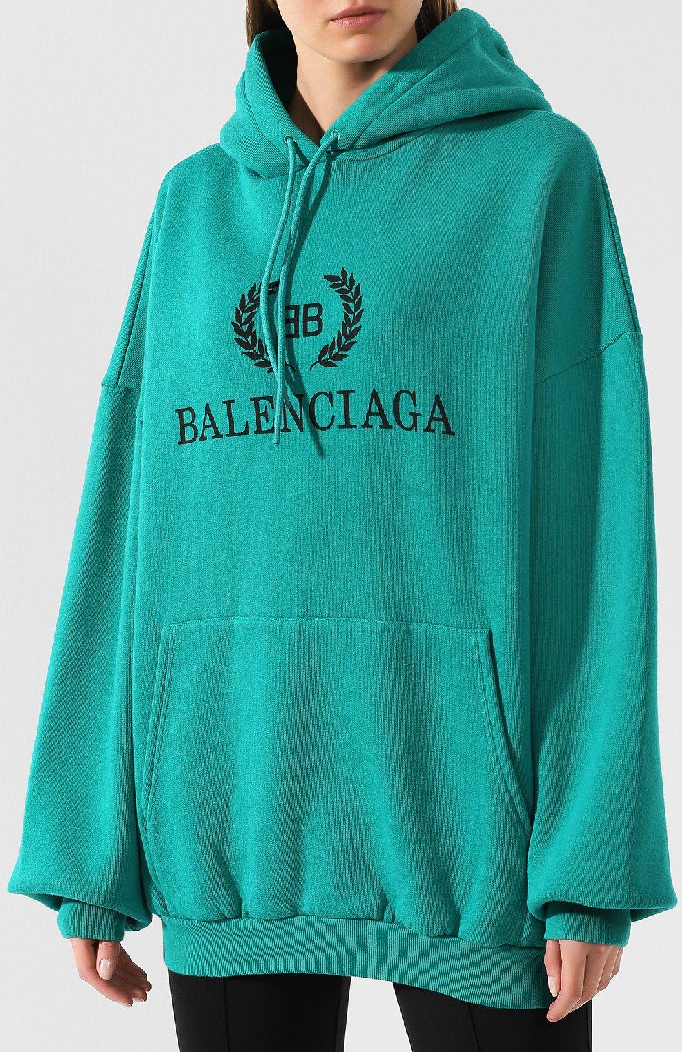 Хлопковое худи Balenciaga зеленый | Фото №3