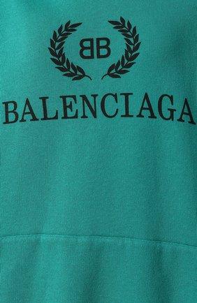Хлопковое худи Balenciaga зеленый | Фото №5