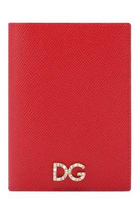 Женские кожаная обложка для паспорта DOLCE & GABBANA красного цвета, арт. BI2215/AZ503 | Фото 1