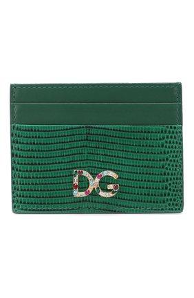 Женский кожаный футляр для кредитных карт DOLCE & GABBANA зеленого цвета, арт. BI0330/AU772 | Фото 1