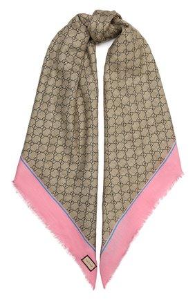 Женская шаль из смеси вискозы и шелка  GUCCI розового цвета, арт. 551072/3GA40 | Фото 1