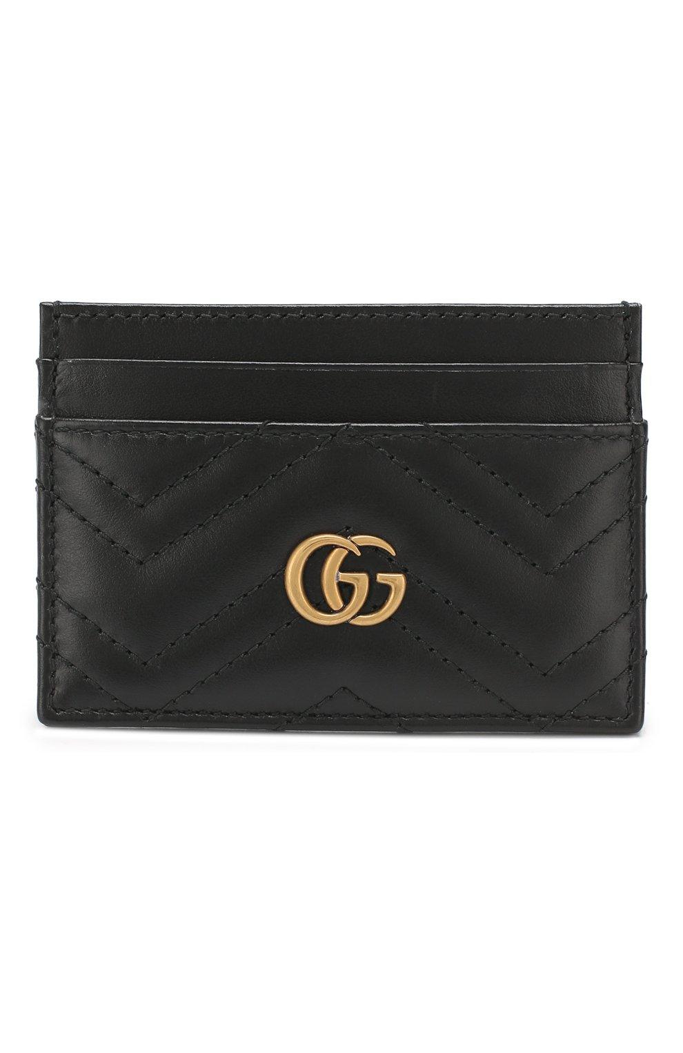 Кожаный футляр для кредитных карт  Gucci черного цвета   Фото №1