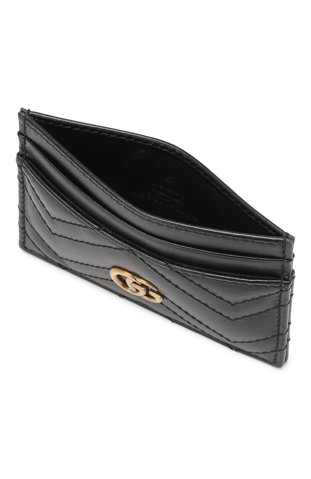 Кожаный футляр для кредитных карт  Gucci черного цвета   Фото №3
