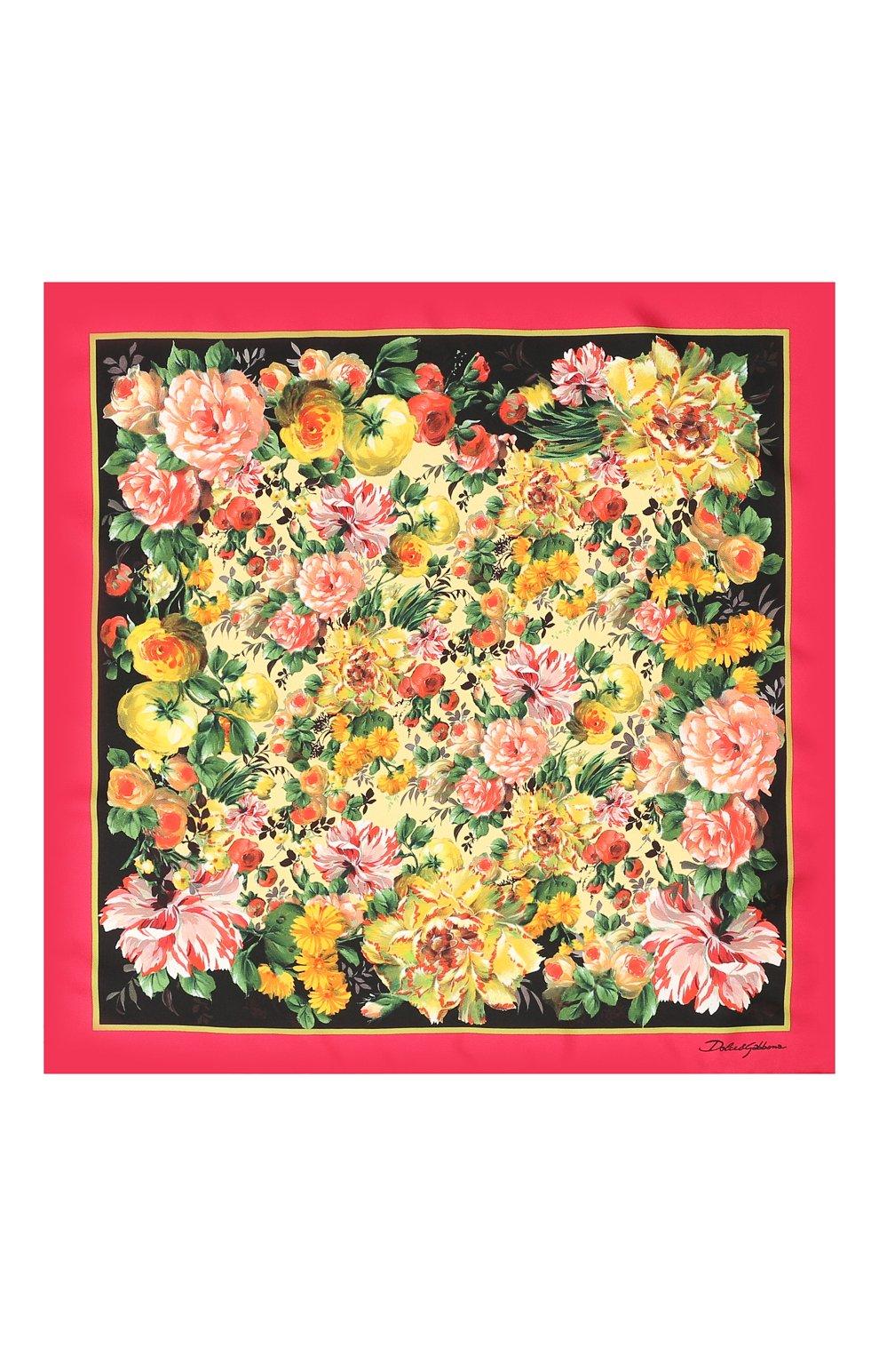 Шелковый платок Dolce & Gabbana разноцветный | Фото №3