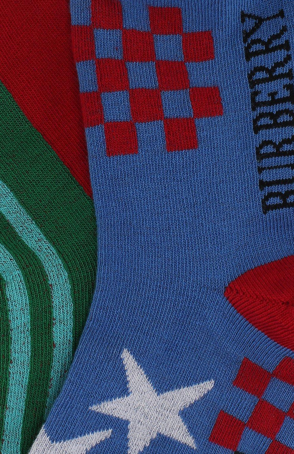 Детские носки с принтом Burberry синего цвета | Фото №2