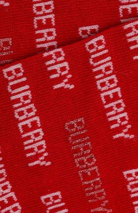 Детские носки с логотипом бренда BURBERRY красного цвета, арт. 4078176 | Фото 2