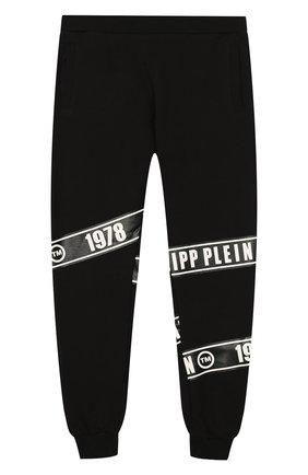 Детские хлопковые джоггеры PHILIPP PLEIN черного цвета, арт. S19C BJT0204 PJ0002N/4-10   Фото 2