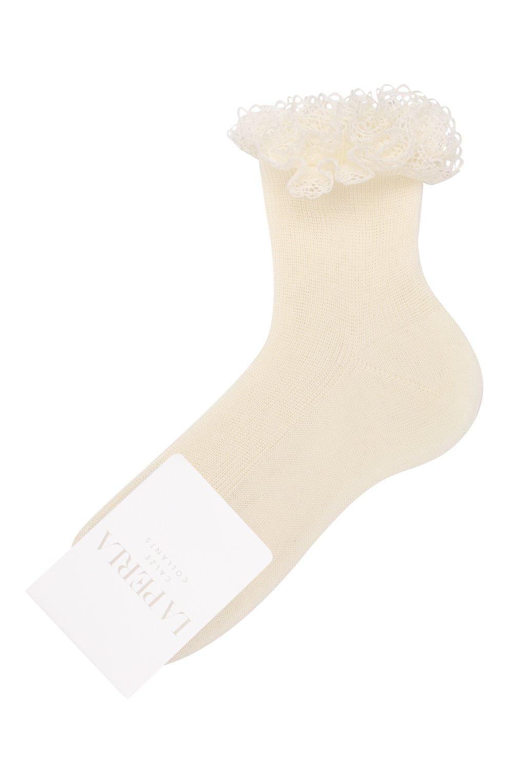 Детские хлопковые носки LA PERLA кремвого цвета, арт. 43455/1-3 | Фото 1