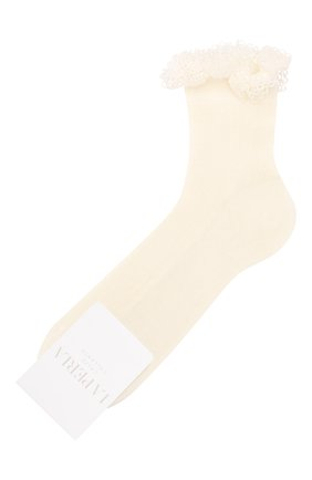 Детские хлопковые носки LA PERLA кремвого цвета, арт. 43455/7-9 | Фото 1