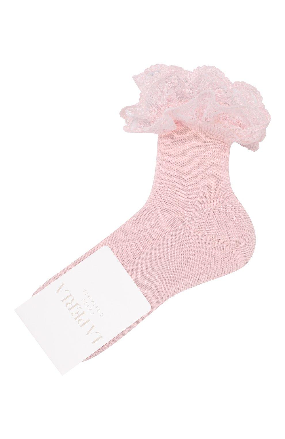Детские хлопковые носки LA PERLA розового цвета, арт. 43919/1-3   Фото 1
