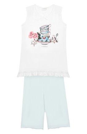 Детская пижама с принтом LA PERLA голубого цвета, арт. 51801/8A-14A | Фото 1