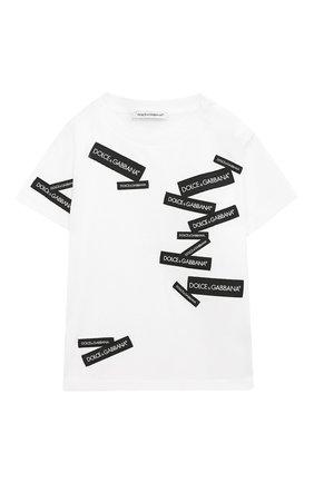 Детский хлопковая футболка DOLCE & GABBANA белого цвета, арт. L1JT7W/G7RIG | Фото 1