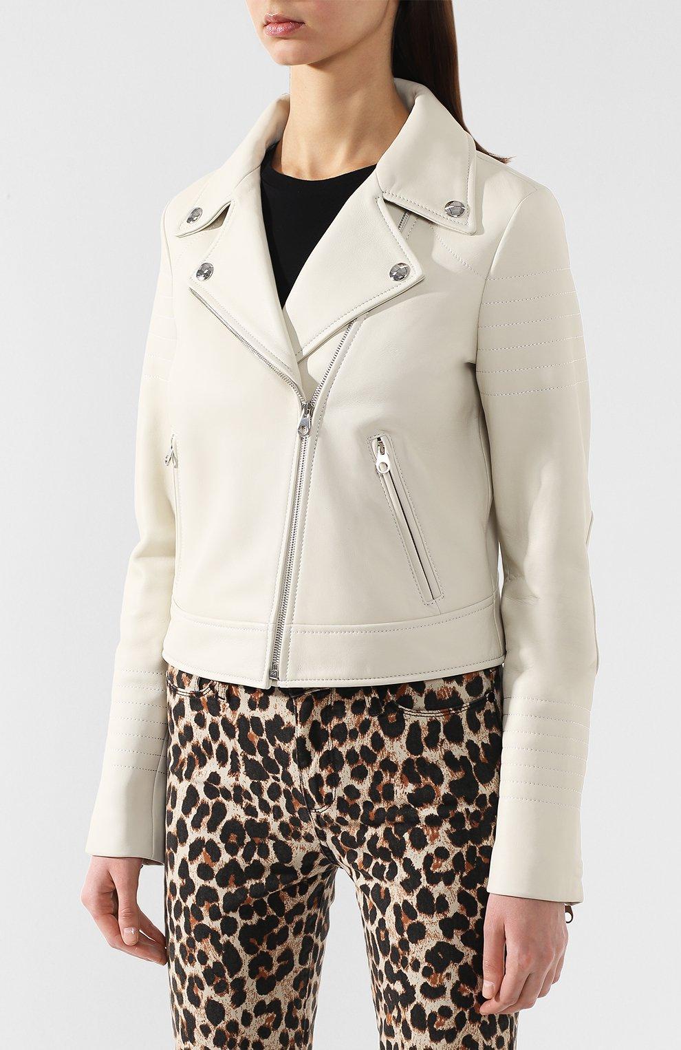 Кожаная куртка с косой молнией | Фото №3
