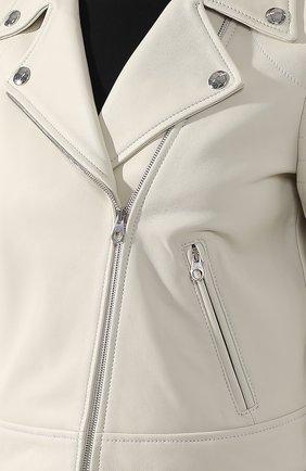 Кожаная куртка с косой молнией | Фото №5