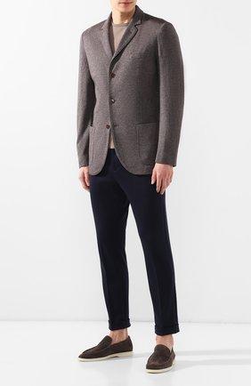 Мужской пиджак из смеси шелка и кашемира LORO PIANA коричневого цвета, арт. FAI0980 | Фото 2
