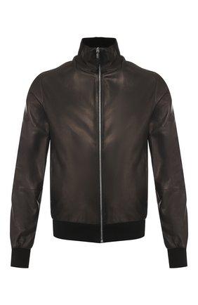 Мужской кожаный бомбер ANDREA CAMPAGNA черного цвета, арт. 40000E1652600 | Фото 1