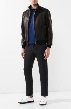 Мужской кожаный бомбер ANDREA CAMPAGNA черного цвета, арт. 40000E1652600 | Фото 2