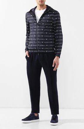 Мужские кожаные кеды  TOD'S темно-синего цвета, арт. XXM0XY0AY40RE0   Фото 2