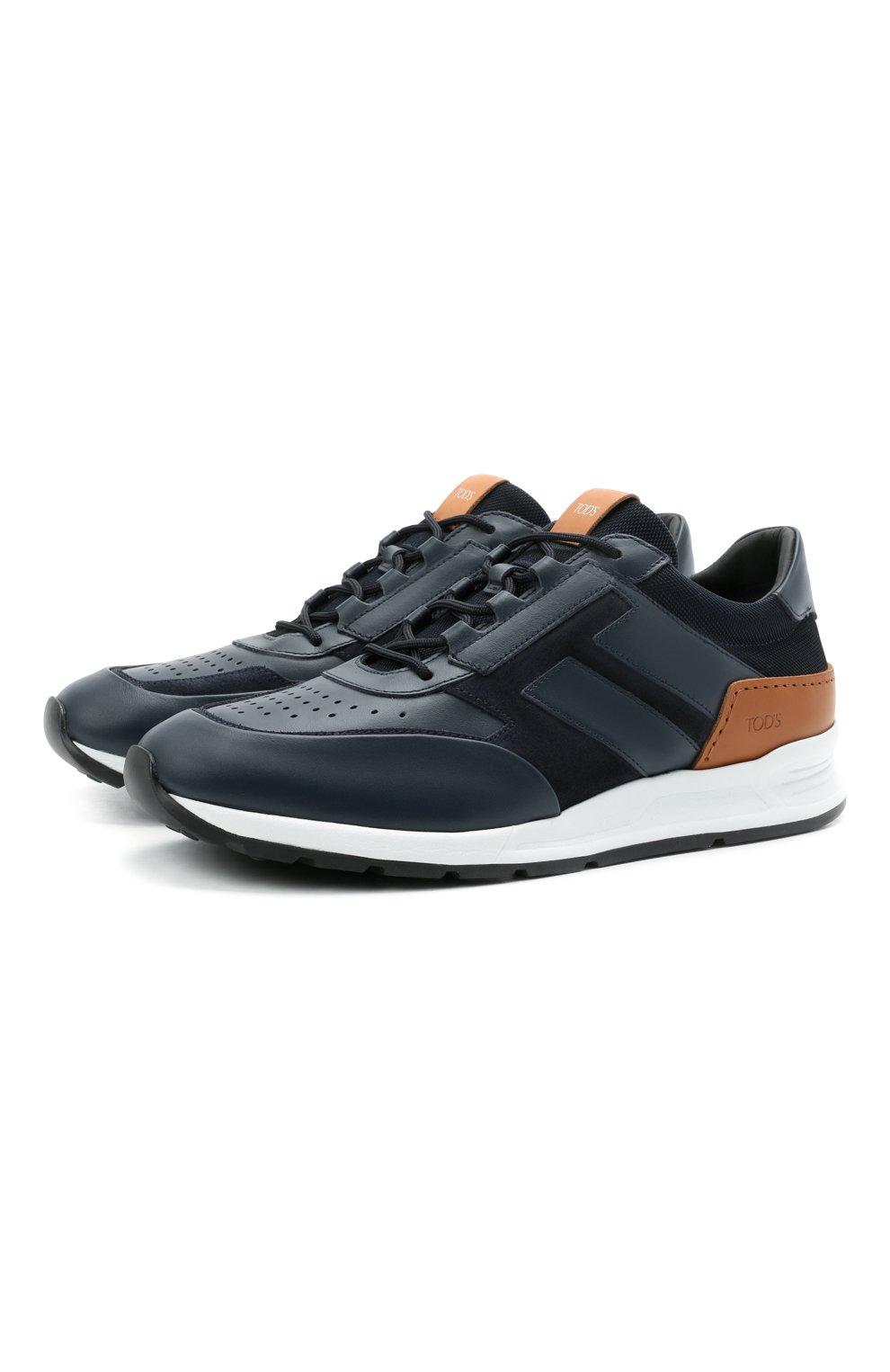 Мужские комбинированные кроссовки TOD'S темно-синего цвета, арт. XXM56B0AY30KQ9 | Фото 1 (Материал внутренний: Натуральная кожа; Стили: Классический; Подошва: Массивная; Статус проверки: Проверена категория)