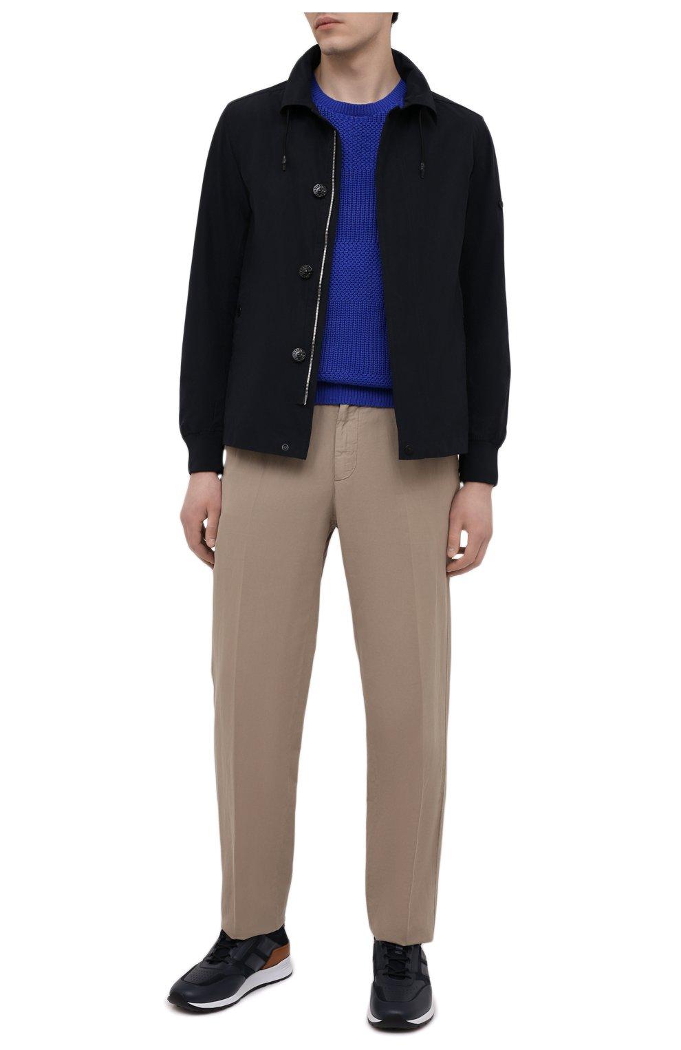 Мужские комбинированные кроссовки TOD'S темно-синего цвета, арт. XXM56B0AY30KQ9 | Фото 2 (Материал внутренний: Натуральная кожа; Стили: Классический; Подошва: Массивная; Статус проверки: Проверена категория)