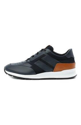 Мужские комбинированные кроссовки TOD'S темно-синего цвета, арт. XXM56B0AY30KQ9 | Фото 3 (Материал внутренний: Натуральная кожа; Стили: Классический; Подошва: Массивная; Статус проверки: Проверена категория)