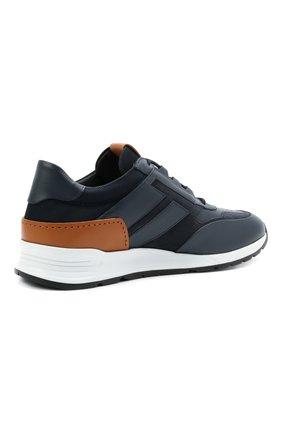 Мужские комбинированные кроссовки TOD'S темно-синего цвета, арт. XXM56B0AY30KQ9 | Фото 4 (Материал внутренний: Натуральная кожа; Стили: Классический; Подошва: Массивная; Статус проверки: Проверена категория)