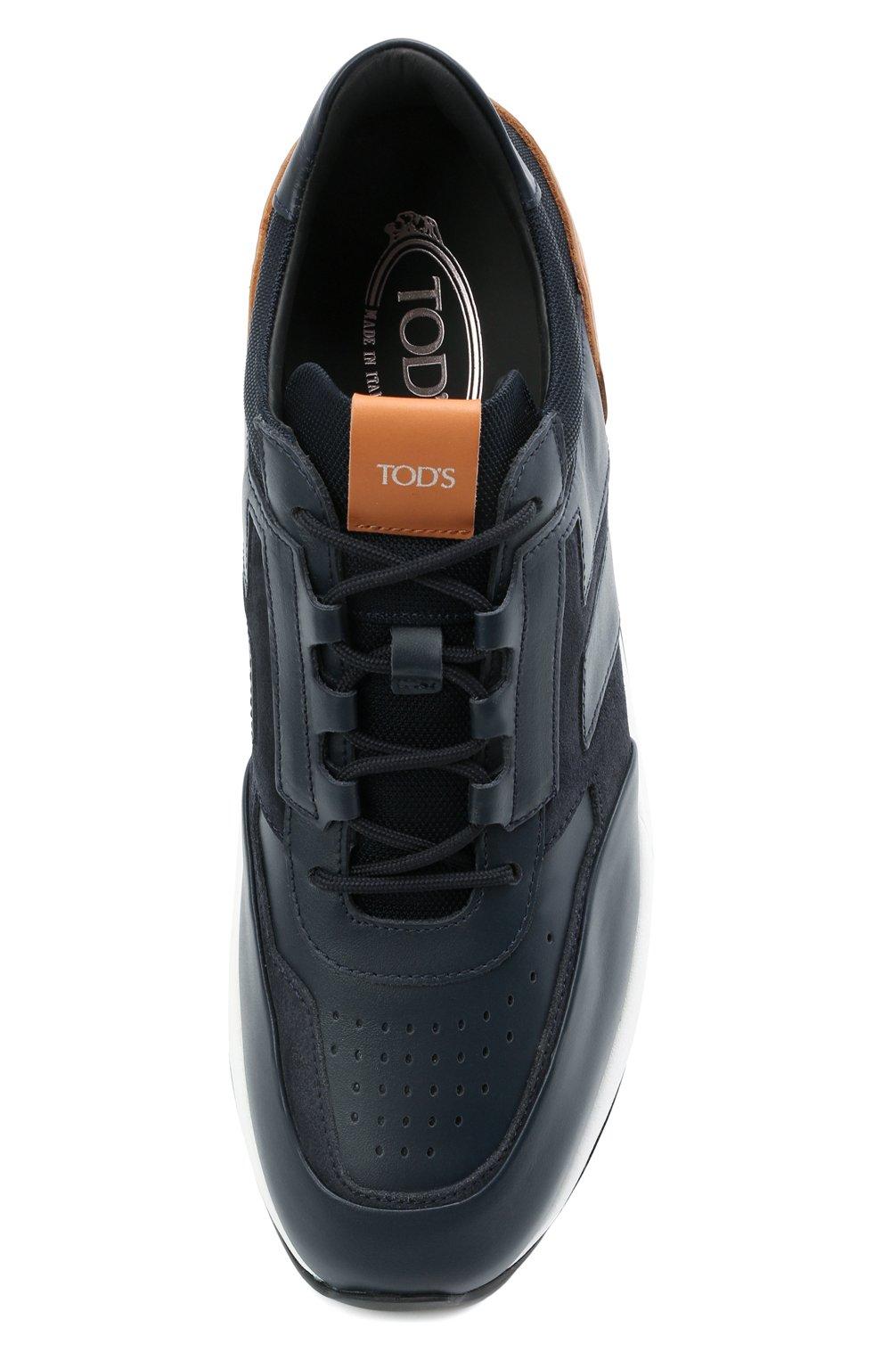 Мужские комбинированные кроссовки TOD'S темно-синего цвета, арт. XXM56B0AY30KQ9 | Фото 5 (Материал внутренний: Натуральная кожа; Стили: Классический; Подошва: Массивная; Статус проверки: Проверена категория)