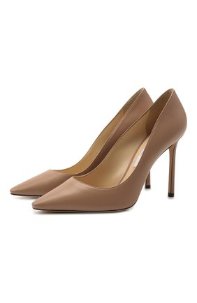 Женская кожаные туфли romy 100 на шпильке JIMMY CHOO бежевого цвета, арт. R0MY 100/KID | Фото 1