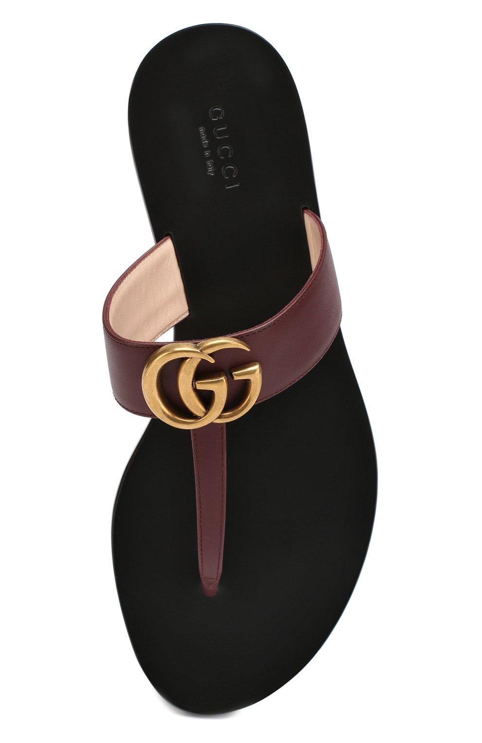 Кожаные шлепанцы Marmont Gucci бордовые | Фото №5