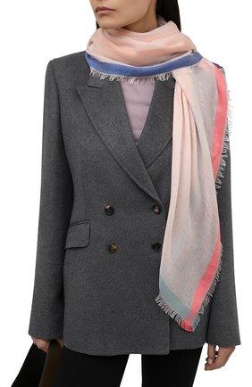 Женский платок quadrata rainbow из кашемира и шелка LORO PIANA светло-розового цвета, арт. FAE7233 | Фото 2